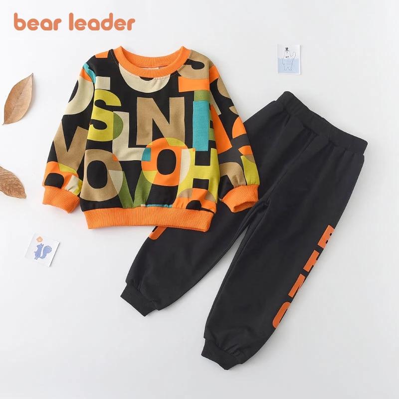 Bear Leader Boys Clothes Children's Clothing Sets 2021 Autumn Long Sleeve Active Suits Letter Print Baby Clothes 2pcs Boy Set