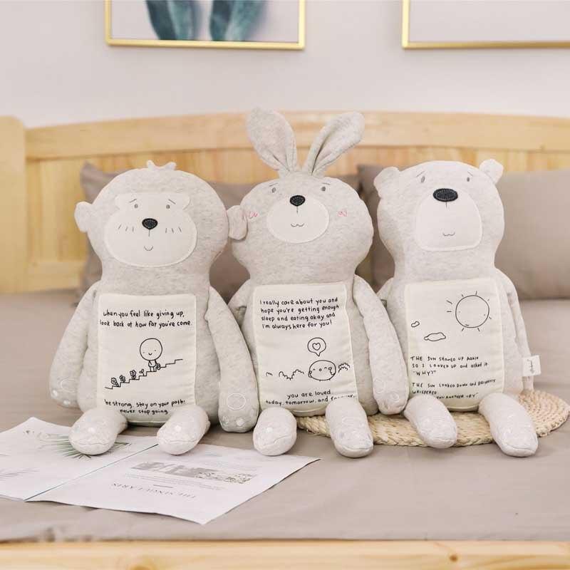 Lucky Boy Sunday Soft Cotton Animals Stuffed Toy Bear Rabbit Monkey Plush Doll Kids Baby Sleep Doll Birthday Gift