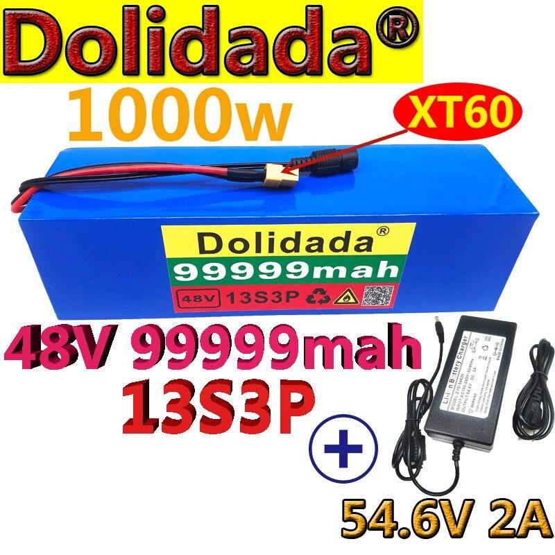 48V99.999Ah 1000 واط 13S3P XT60 48 فولت بطارية أيون الليثيوم حزمة 99999 مللي أمبير ل 54.6 فولت E-دراجة هوائية كهربائية سكوتر مع BMS + شاحن