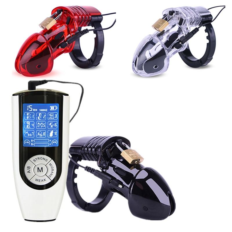 CB6000 Dispositivo de Castidad Cage Electro Shock Lock con anillo ajustable cinturón de castidad SM juguete sexual para hombres