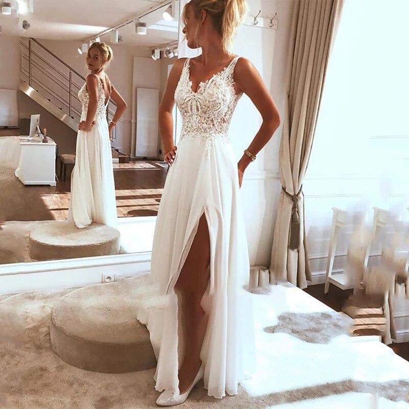 Wedding dress Beach wedding dress 2021 side split top lace boho bride dress sexy appliques wedding gown custom made