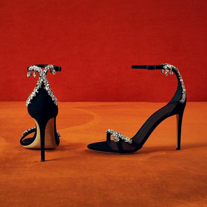 Sandálias de salto alto das mulheres sapatos de verão 2020 corrente de cristal sandália feminina luxo sandalias mujer moda zapatos de mujer