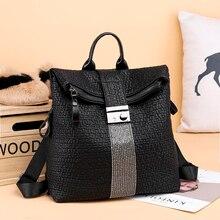 new fashion women backpack female shoulder bag backpack school bag for teenage girl travel daypack diamond lock folded bagpack