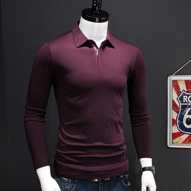 الأعمال عادية الرجال طويلة الأكمام قميص بولو بلون سستة طوق Polos قمصان الرجال جديد الخريف الملابس بلوزات على الموضة