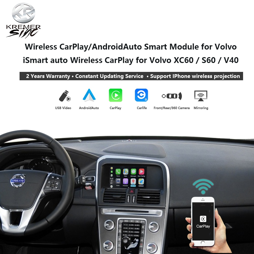 Wireless CarPlay Android Auto Retrofit Box for Volvo iSmart Auto V40 XC70 XC60 S60 V60 V70 Mirroring Link SIRI OEM Microphone