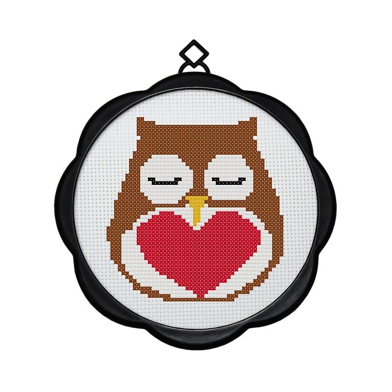 Joy Sunday Owl 1 y un pequeño loro Corss-Stitch Set niños hecho A mano DIY Kits de bordado para la decoración del hogar y regalo sorpresa