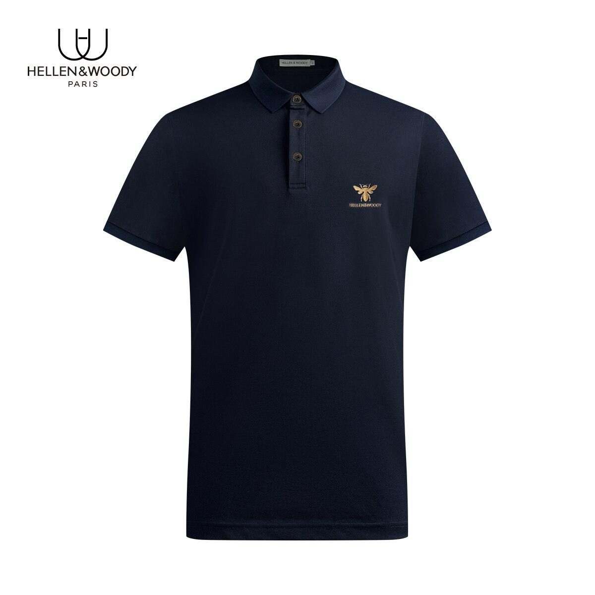 Новое поступление, повседневная облегающая Деловая одежда HELLEN & WOODY2021, рубашки поло высокого качества, хлопковая Смешанная одежда с принтом ...