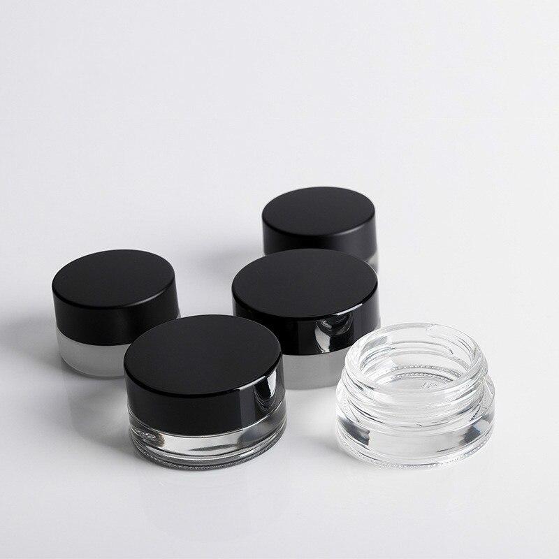 Recipiente de empacotamento cosmético da garrafa redonda pequena da amostra do creme do olho do frasco de vidro transparente de 3g 5g mini com tampão preto
