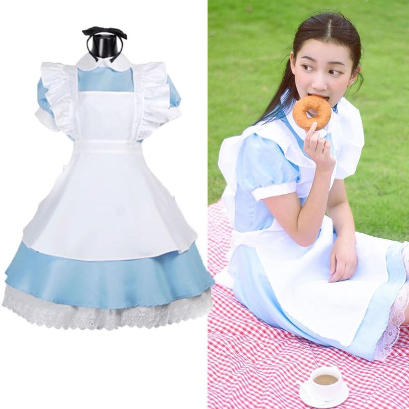 Женский костюм Алиса наряд горничной платье Лолита косплей Элис в стране чудес Сисси Хэллоуин вечерние платья для детей девочек E24A33