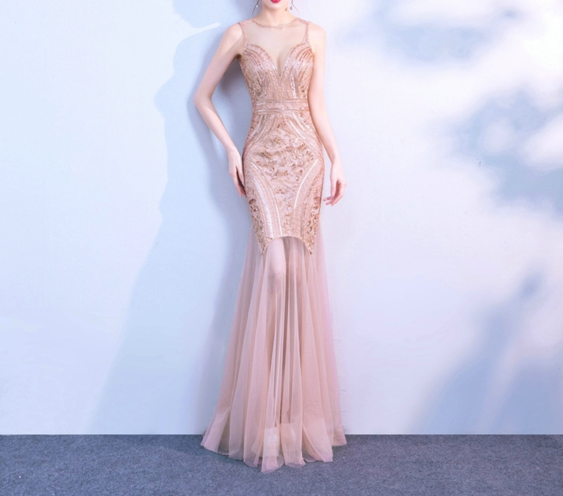 Plus size Gold sequins Evening gown Mermaid V-cut Elegant women Formal party Long dresses 2020