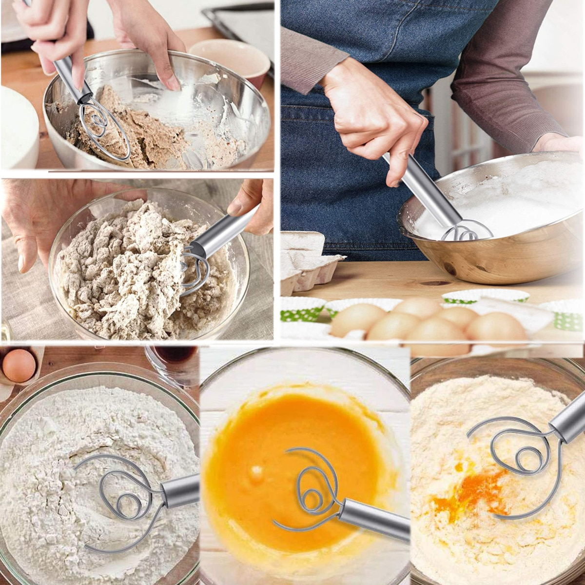 ¡OFERTA 2020! Mezclador de harina de acero inoxidable, batidor de masa danés, agitador de anillo de alambre multifuncional, herramienta de horneado para leche de mermelada de huevo