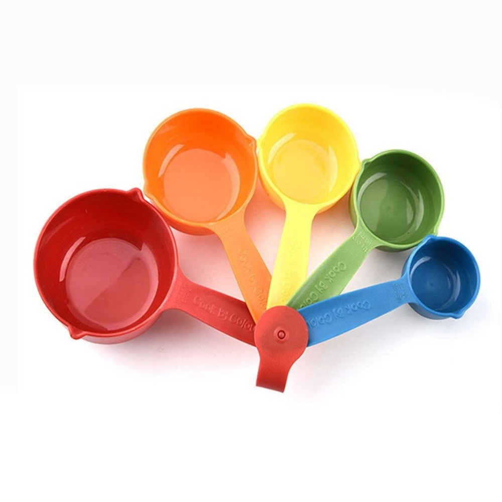 5 Pcs/Set Colorful Plastic Kitchen Measuring Cups Ergonomic Handle Sugar Cake Baking Spoon Household Measuring Scoop