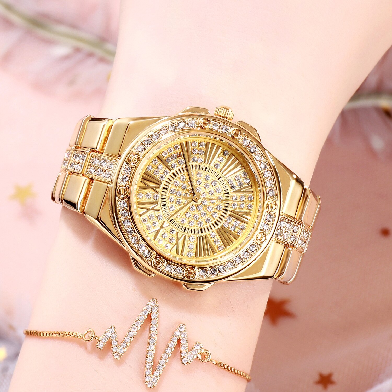 BW ساعة نسائية جديدة 18 K الذهب مقاوم للماء ساعة كوارتز رائجة البيع عالية الجودة كامل الماس ستار سوار ساعة هدية ساعة ماسية