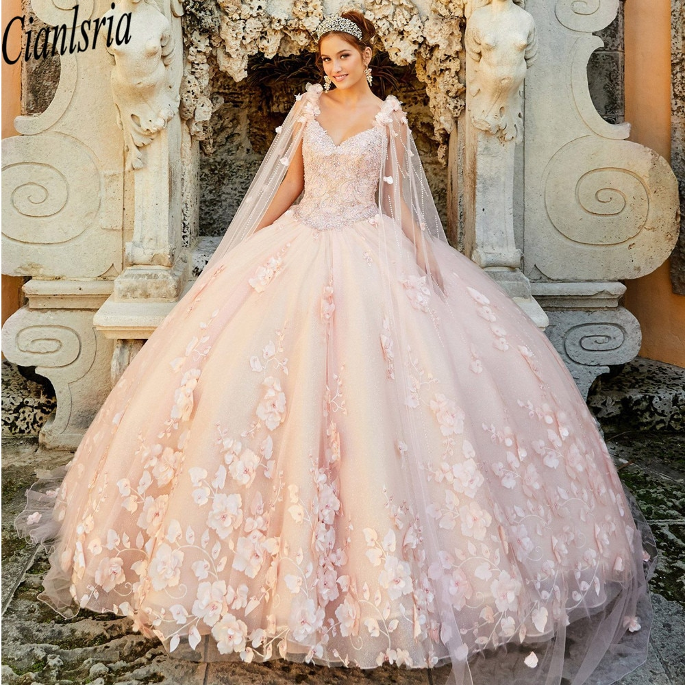 2021 Stunning Pink Quinceanera Sweet 16 Dresses Sequins Lace Applique Strapless Lace-up Remove shawl Prom Ball Gowns Gr