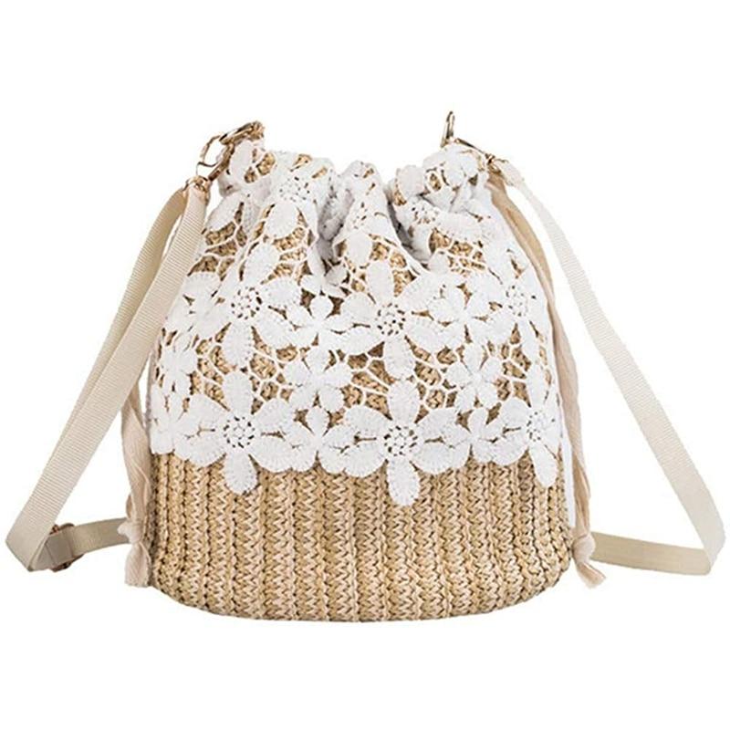 ASDS-Fashion Lace Edge Shoulder Bag Casual Handbag Women's Straw Bucket Bag