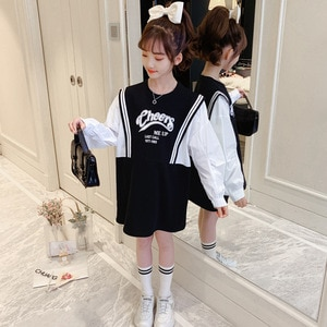 Girls' Spring and Autumn Clothing Dress 2021 New Korean Style Kids Long Sleeve Princess Dress Girl Fashionable Sweater Dress