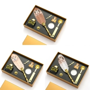Retro Calligraphy Quill Owl Feather Dip Pen with Nib Wax Seal Stamp Gift Box Stationery School Supplies