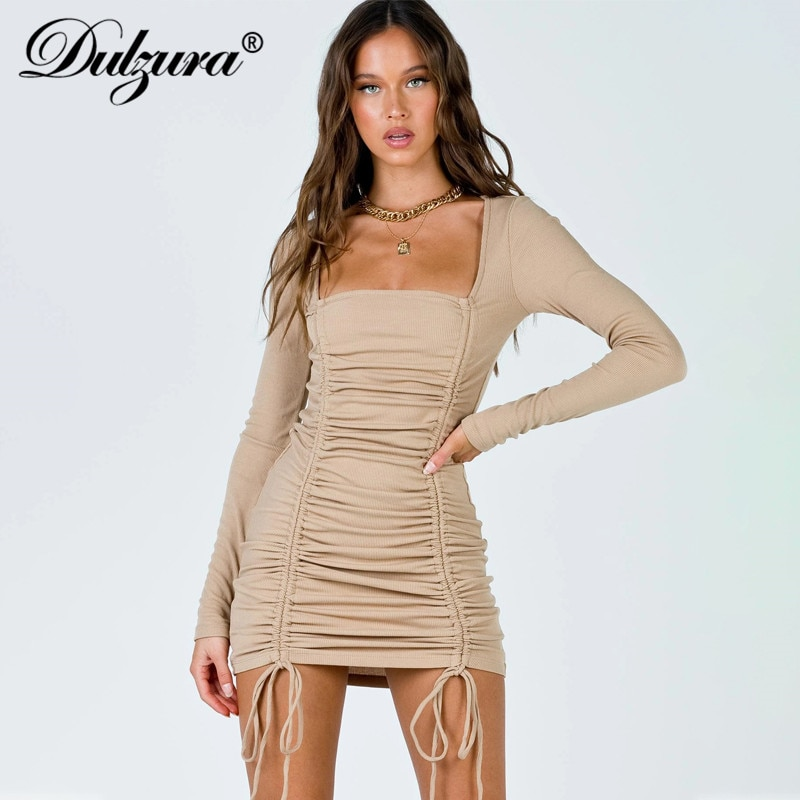 Dulzura ribbed drawstring ruched mini dress women long sleeve bodycon sexy streetwear 2020 autumn winter party elegant solid instunning women s dress v neck long sleeve sashes sexy streetwear autumn ruched slim bodycon casual elegant party dress women