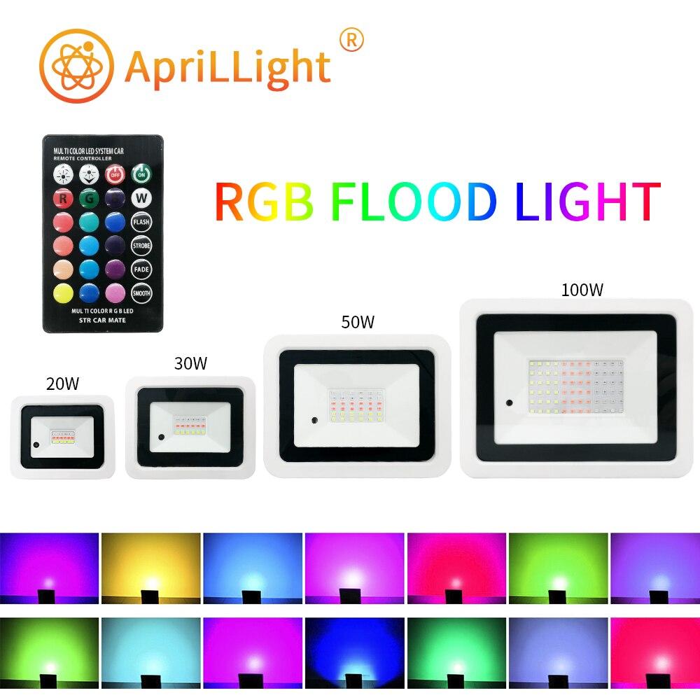 holofote led rgb refletor rgb com controle remoto colorido 20w 30w 50w 100w ip68 220v 110v