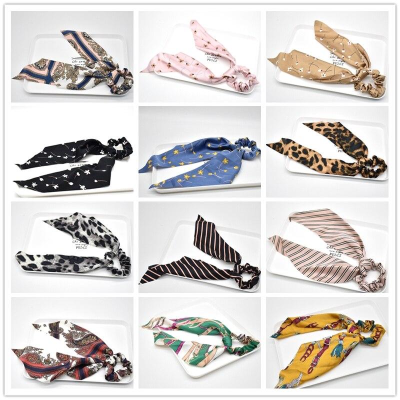 40 цветов лук стримеры волос кольцо модная лента девушка волос трикотажные резинки для волос конский хвост галстук аксессуары для волос