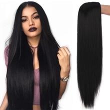 SHANGKE-Peluca de Cosplay sintética para mujer, pelo largo y liso, parte media, pelo rubio, rosa, negro, fibra resistente al calor