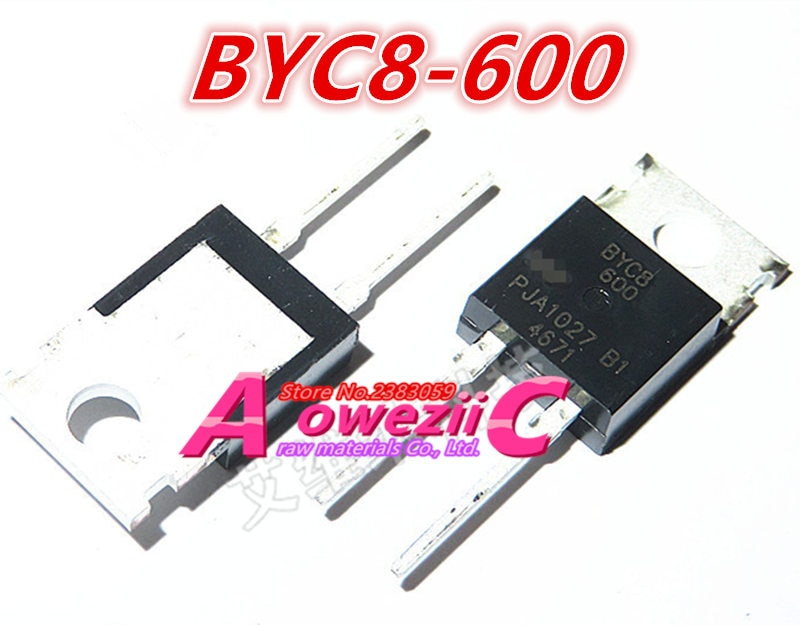 Aoweziic 2018+ 100% new imported original BYC8 BYC8-600 TO-220 BYC8X BYC8X-600 BYC8X-600P TO-220F rectifier diode 8A 600V
