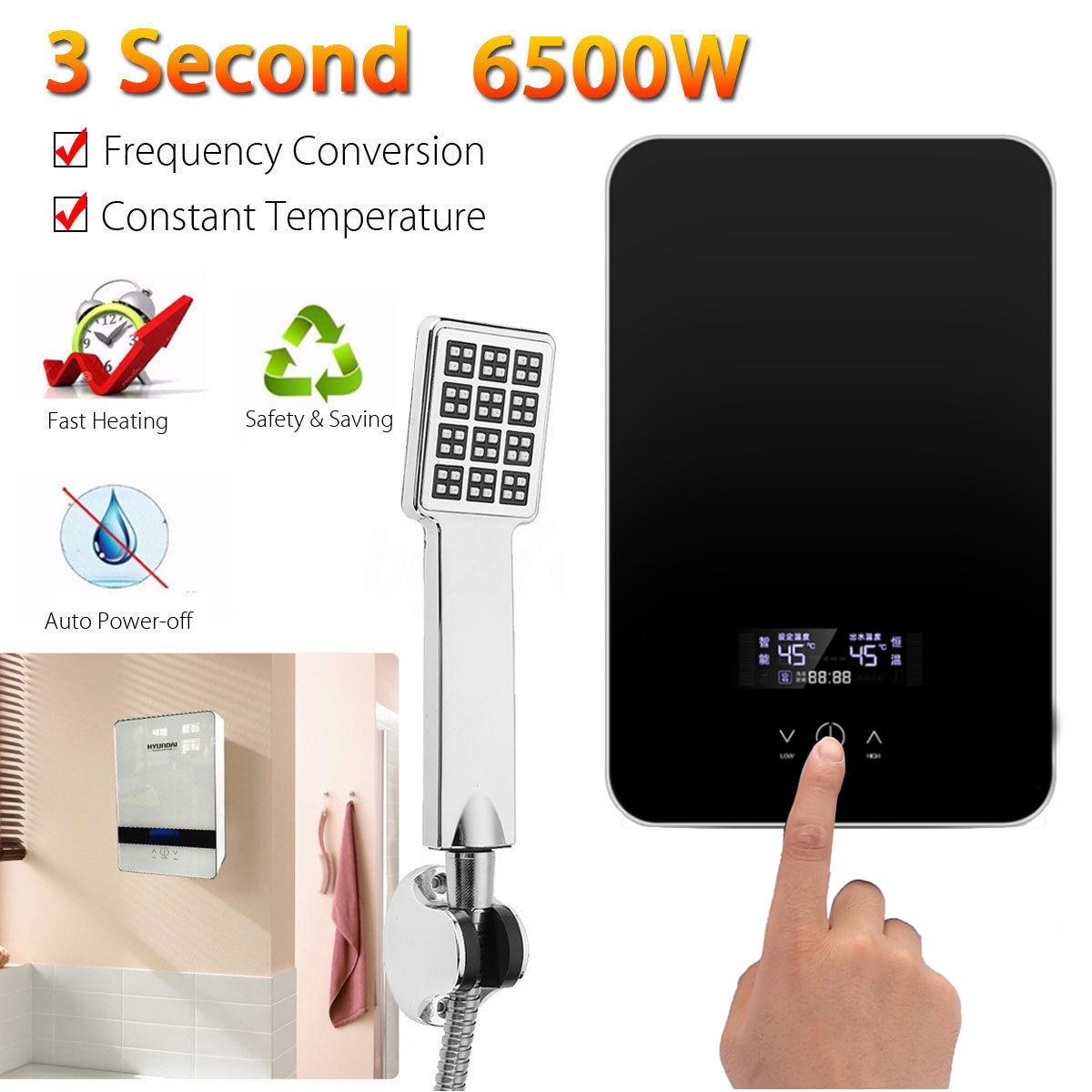 6500 واط 220 فولت الكهربائية الساخن Tankless سخان مياه الحمام المطبخ لحظة سخان مياه درجة الحرارة عرض التدفئة دش العالمي