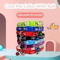 cute cat safety breakaway light collar with bell pet dog neck belt collars kitten accessories collier chat anti etranglement