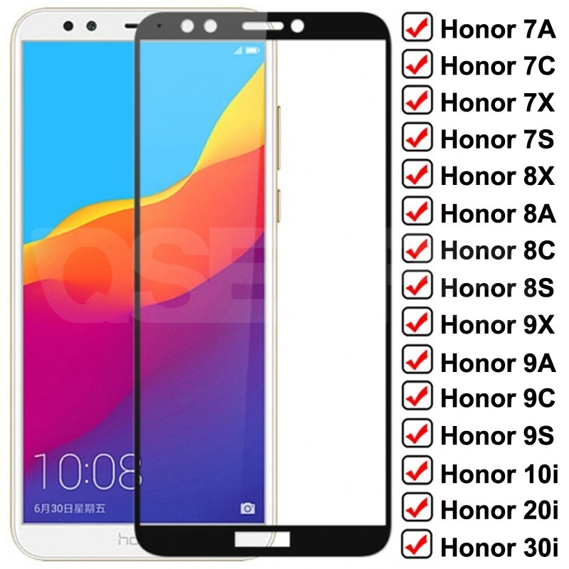 9D Protective Glass For Huawei Honor 7A 7C 7X 7S Tempered Glass Honor 8X 8A 8C 8S 9X 9A 9C 9S 9i 10i 20i 30i Screen Protector