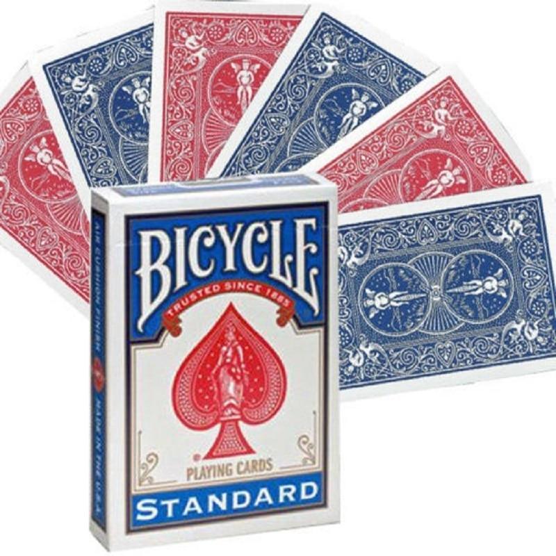 1 cubierta de cartas de juego para bicicleta con doble espalda en rojo y azul, cartas de magia de garfio, accesorios especiales, trucos de magia de cerca para escenario