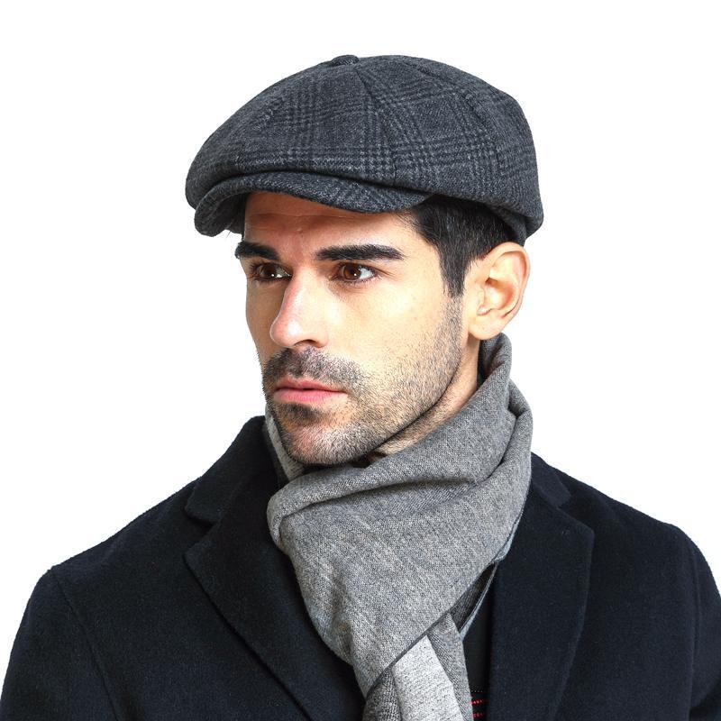 Inverno peaky blinders liso boné de lã do vintage chapéu octogonal homem cabbie chapéu ivy orelha chapéu boné irlandês caça orelha aleta masculino newsboy boné