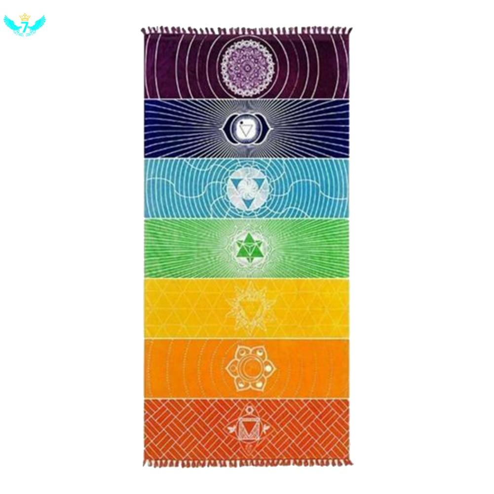 Arcoiris, chakras tapicería toalla para Yoga y Playa protector solar Manta, tapiz hippie Boho gitana 150*75cm DWH5