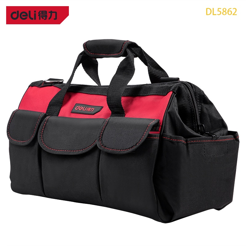 Deli DL5862 16InchesToolkit Made Of Polyester Oxford Cloth Electrician Package Woodworking Bag Auto Repair Kit Plumber's Toolkit