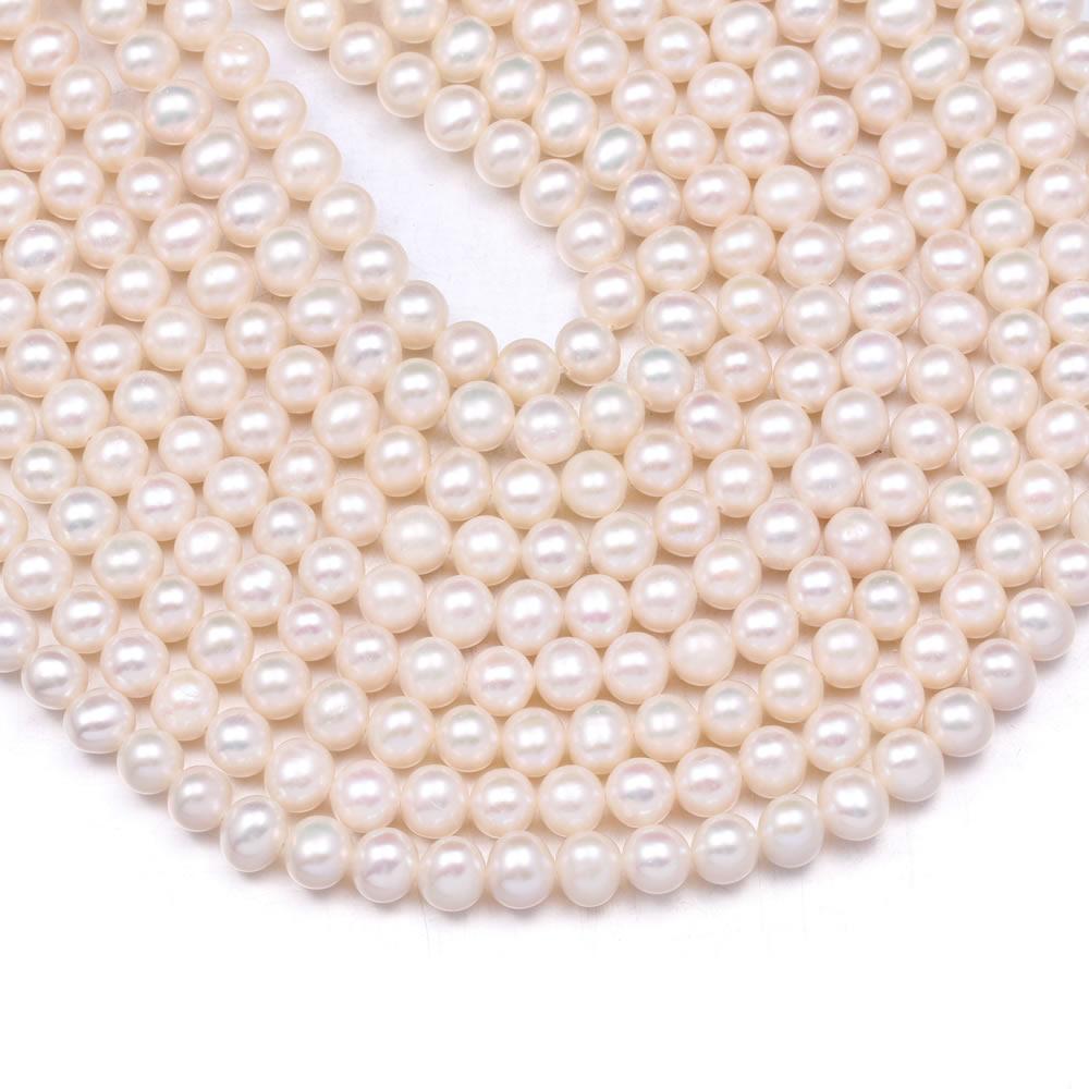 Venta al por mayor de perlas naturales de agua dulce cuentas de forma redonda cuentas espaciadoras sueltas para fabricación de joyería DIY pulsera accesorios de collar