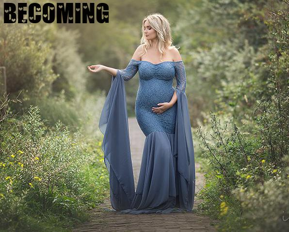Long Maternity Dress Photography Props Dresses Pregnant Women Clothes Lace Maternity Dresses For Photo Shoot Pregnancy Clothing enlarge
