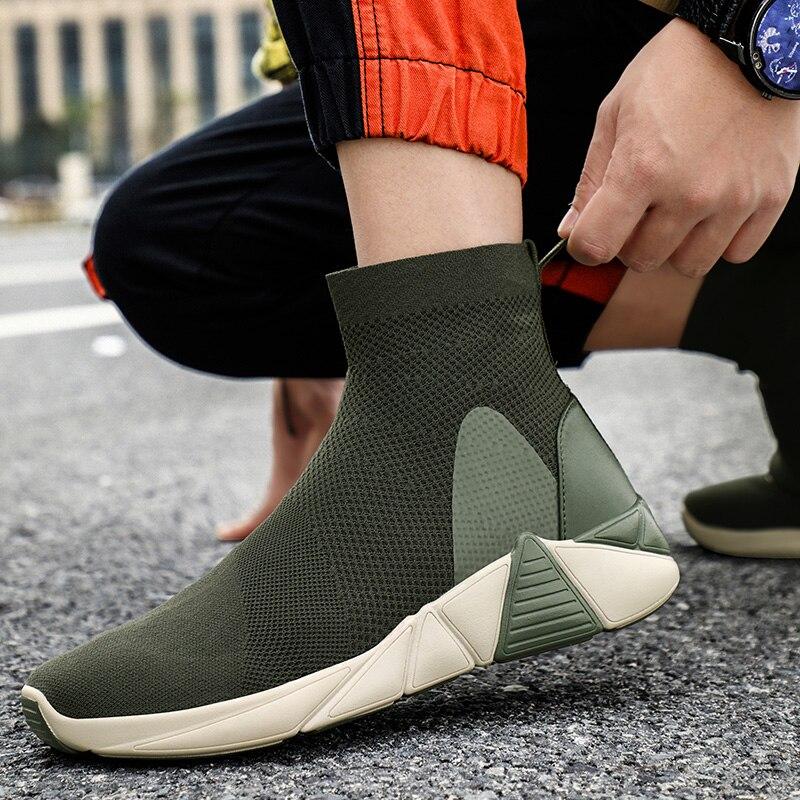 ¡Novedad de 2019! Zapatillas altas de Hombre, Zapatillas informales de verano para Hombre, Zapatillas de red transpirables para Hombre, Zapatillas planas para Hombre