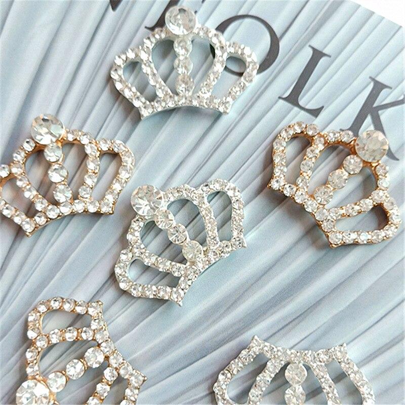 Модные Шикарные Серебряные Пуговицы в виде короны с кристаллами 33*22 мм 10 шт. для