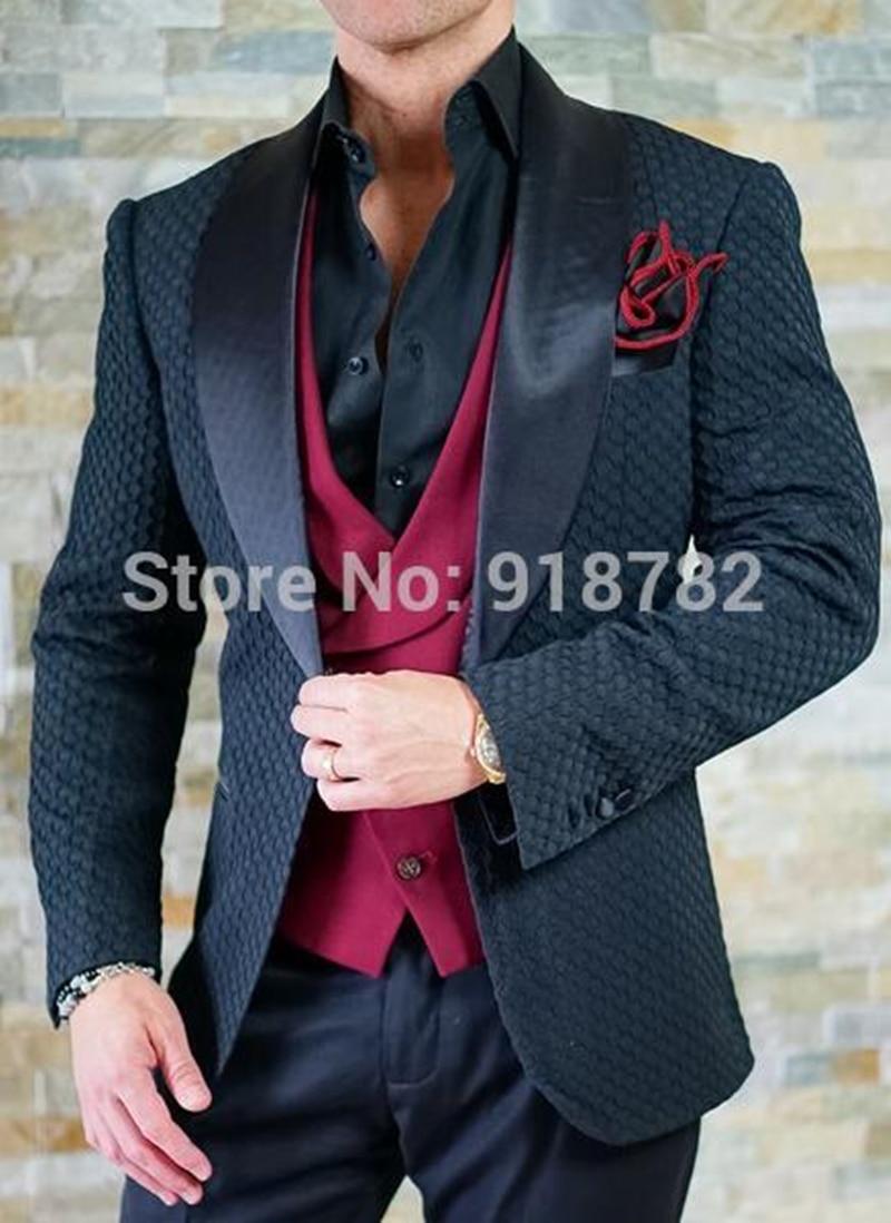 Handsome Embossing Groomsmen Shawl Lapel Groom Tuxedos  Men Suits Wedding/Prom/Dinner Best Blazer(Jacket+Pants+Vest+Tie) 016