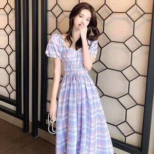 2021 Fashion Women Plaid Vintage Tunic Dress Rockabilly Black Gingham Office Casual Party Jurken A Line Midi Dresses