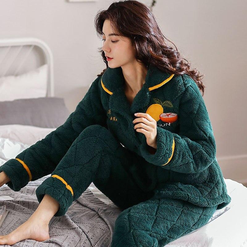 Women Nightwear Pajama Set Winter Warm Hooded Pajama Sets Thick Flannel Pajamas Soft Plus Size Pijama Pajamas Woman Winter
