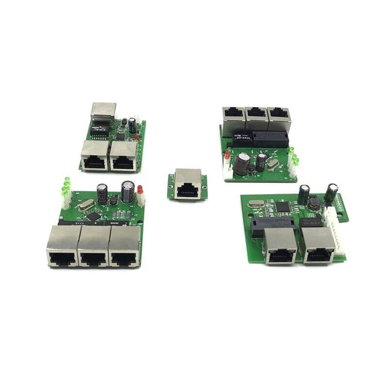 OEM factory direct mini fast 10 / 100mbps 3-port Ethernet network lan hub switch board two-layer pcb 3 rj45 5V 12Vhead port