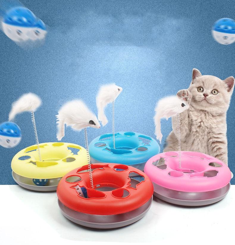 Gatos de juguete graciosos interactivo juguete para gatos disco juguetes para gatos ratón bola loca la formación de placa gato de juguete con plumas