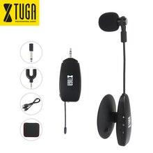 XTUGA UHF mikrofon bezprzewodowy mikrofon kondensujący zacisk do mikrofonu gęsiej szyi na Instrument strunowy, na gitarę, talerze