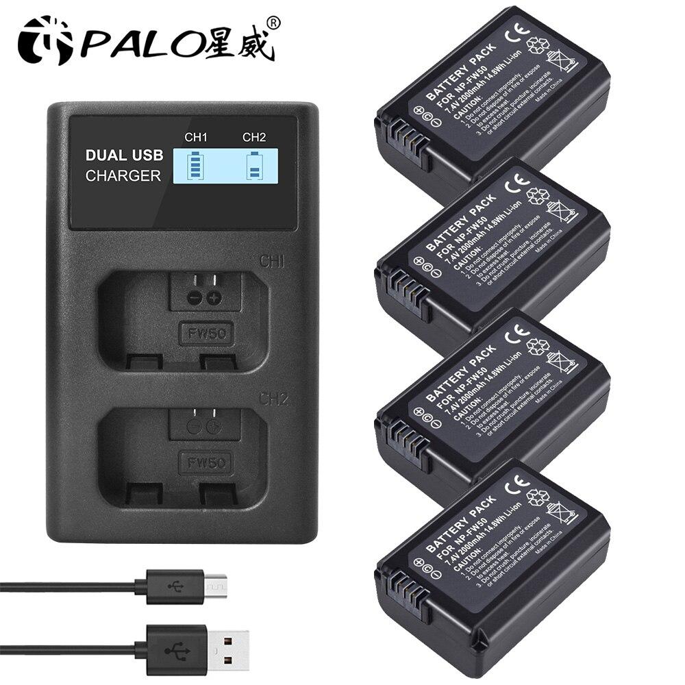 4pc NP-FW50 NPFW50 batería Cámara + LCD cargador Dual USB para Sony...