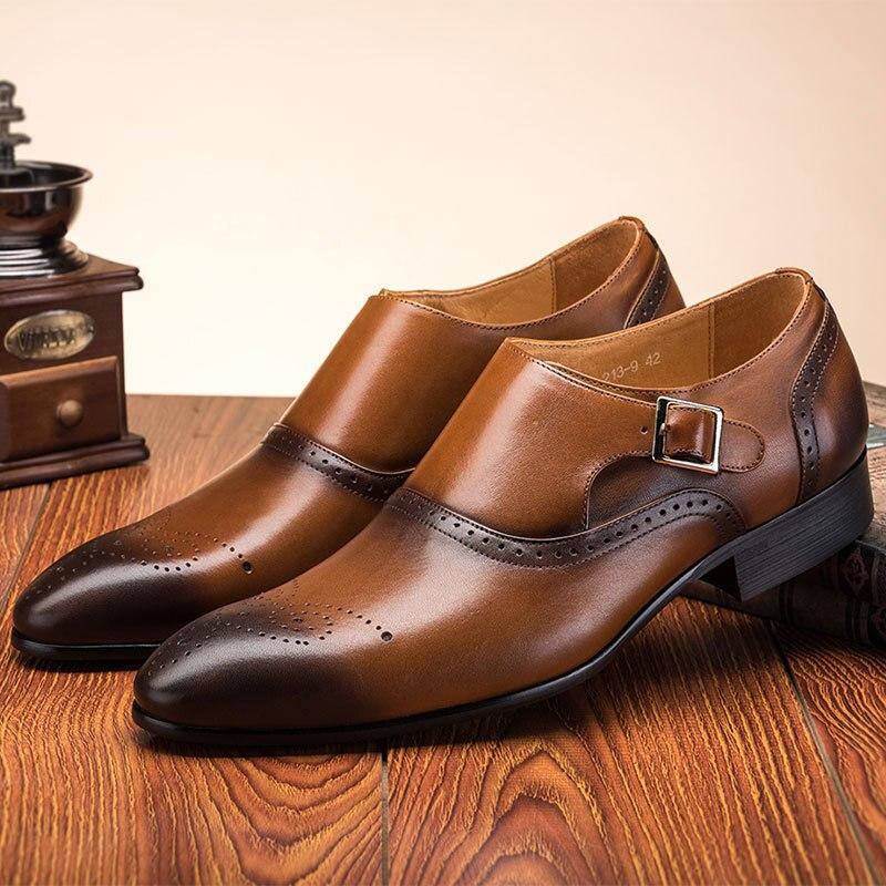 Novo tamanho grande moda dupla monge fivela cinta sapatos de casamento formal masculino vestido sapatos vintage brogue oxford sapatos 2019