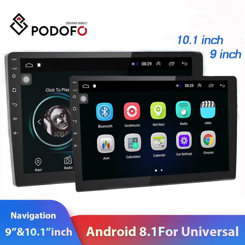 "Podofo 2 din carro multimídia player 9 ""/10"" 2.5d gps 2 din android rádio do carro gps wifi autoradio bt fm mirrorlink gravador de fita"