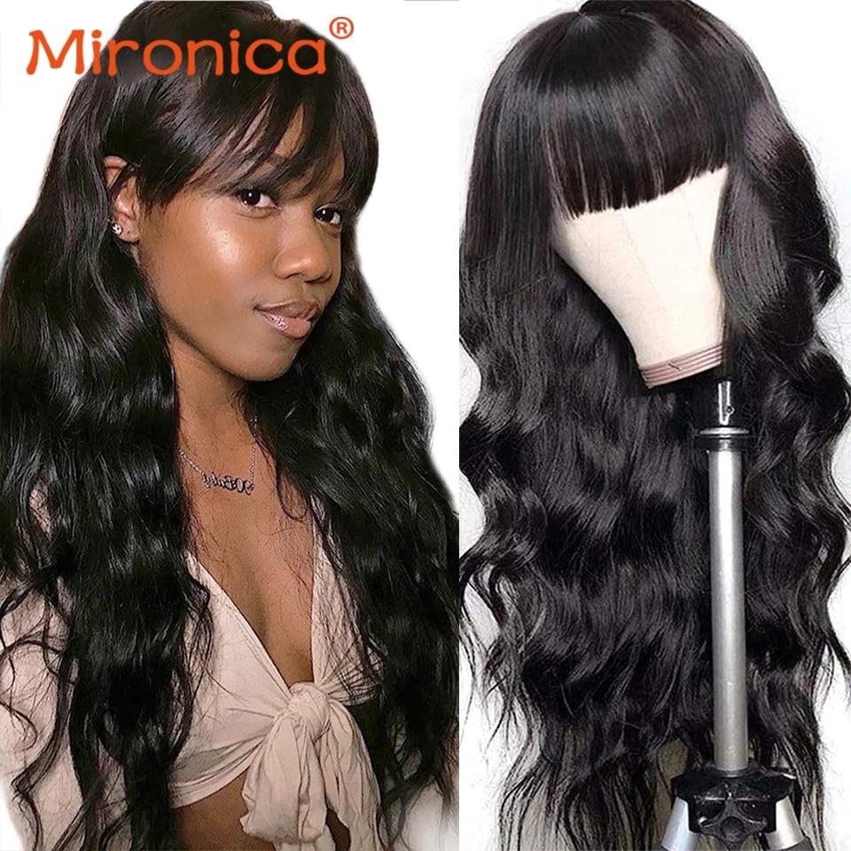 Mironica Hair Loose Deep Wave Human Hair Wig With Bangs Full Machine Made Remy Brazilian Bone Straig