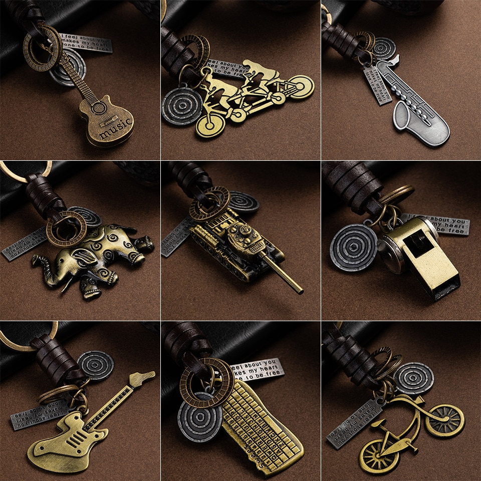 Fashion Car Key Chain Ring Lovers Couple Keychain Bags Music Guitar Elephant Skateboard Hat Bicycle