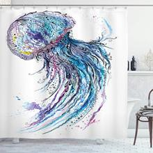 Méduse rideau de douche Aqua couleurs Art océan Animal impression croquis Style créatif mer Marine thème tissu tissu salle de bain décor