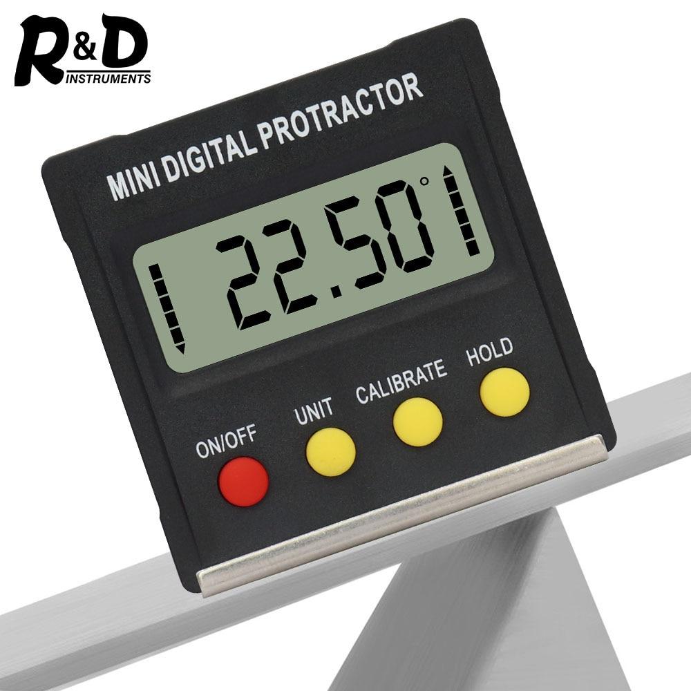 R&D 360 Degree Mini Digital Protractor Inclinometer Electronic Level Box Magnetic Base Measuring Tools